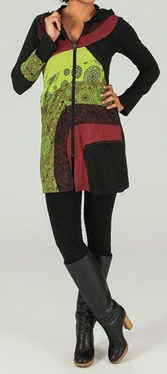 Veste mi-longue à capuche Ethnique et Colorée Prunille 274027