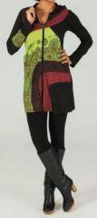 Veste mi-longue � capuche Ethnique et Color�e Prunille 274027
