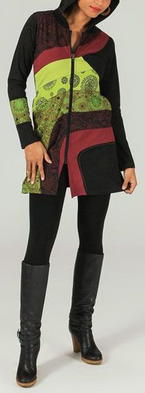 Veste mi-longue à capuche Ethnique et Colorée Prunille 274028