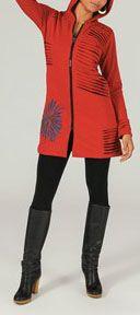 Veste mi-longue à capuche Ethnique et Colorée Reynald 274000
