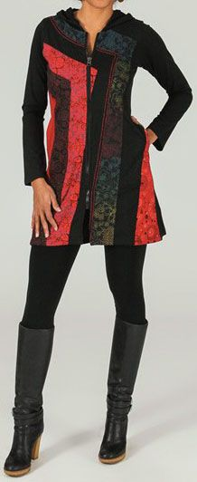 Veste mi-longue à capuche Ethnique et Colorée Robinsa 274007