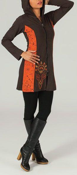 Veste mi-longue à capuche Ethnique et Colorée Siméa 274020