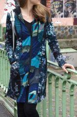Veste mi-longue � capuche Ethnique et Originale Bleue Pernelle 273991