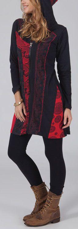Veste mi-longue à capuche Ethnique et Originale rouge Lumina