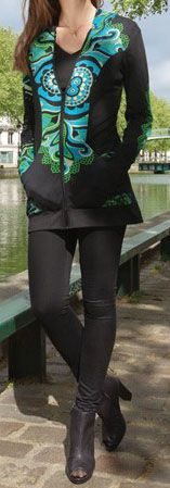 Veste mi-longue à capuche Originale et Ethnique Bayan 274298
