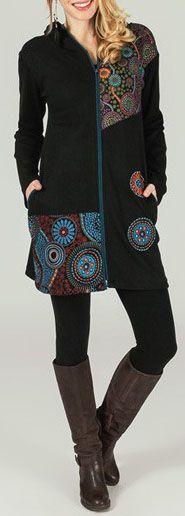 Veste mi-longue originale à capuche et imprimés ethniques Siris 274035