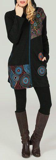 Veste mi-longue originale à capuche et imprimés ethniques Siris 274036