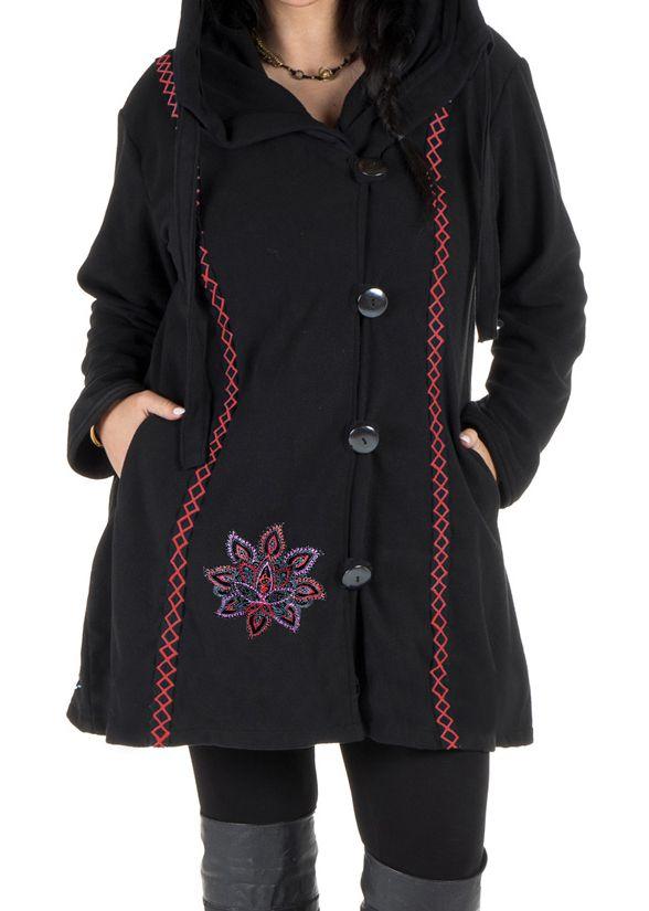 Veste ou Manteau ethnique noire en grande taille Limbé 313770