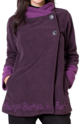 Veste polaire Bicolore et Ethnique pour Femme Kasamance Violette 275650
