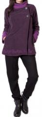 Veste polaire Bicolore et Ethnique pour Femme Kasamance Violette 275651