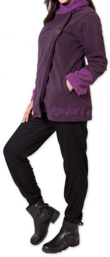 Veste polaire Bicolore et Ethnique pour Femme Kasamance Violette 275652