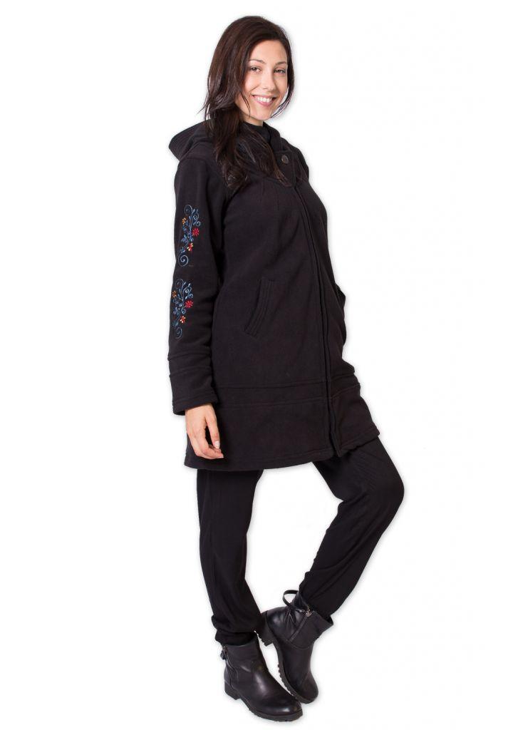 veste polaire longue ethnique et bien chaude mandre noire. Black Bedroom Furniture Sets. Home Design Ideas