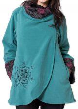 Veste polaire pour Femme Ethnique et Imprim�e Huddson Bleue 275601