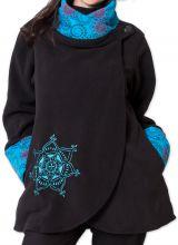 Veste polaire pour Femme Ethnique et Imprim�e Huddson Noire et Bleue 275605