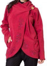Veste pour Femme en Polaire Ethnique et Originale Colombia Rouge 275585