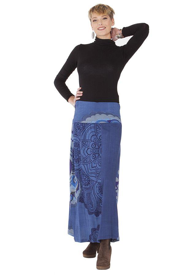 **Jupe Longue Ethnique et Colorée Barbara Bleue imprimée 285527