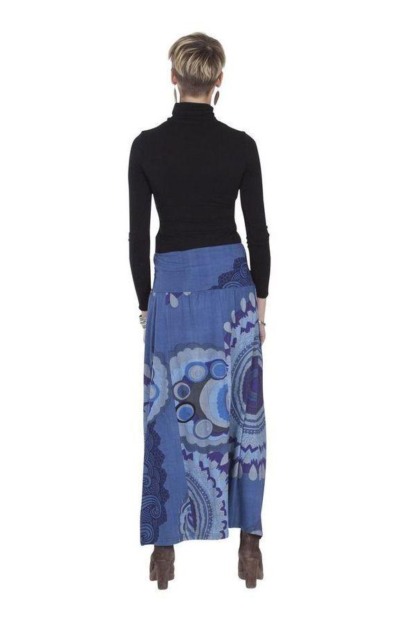 **Jupe Longue Ethnique et Colorée Barbara Bleue imprimée 285528
