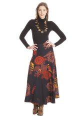 **Jupe longue Kazia Ethnique et Originale Noire et Orange 285521