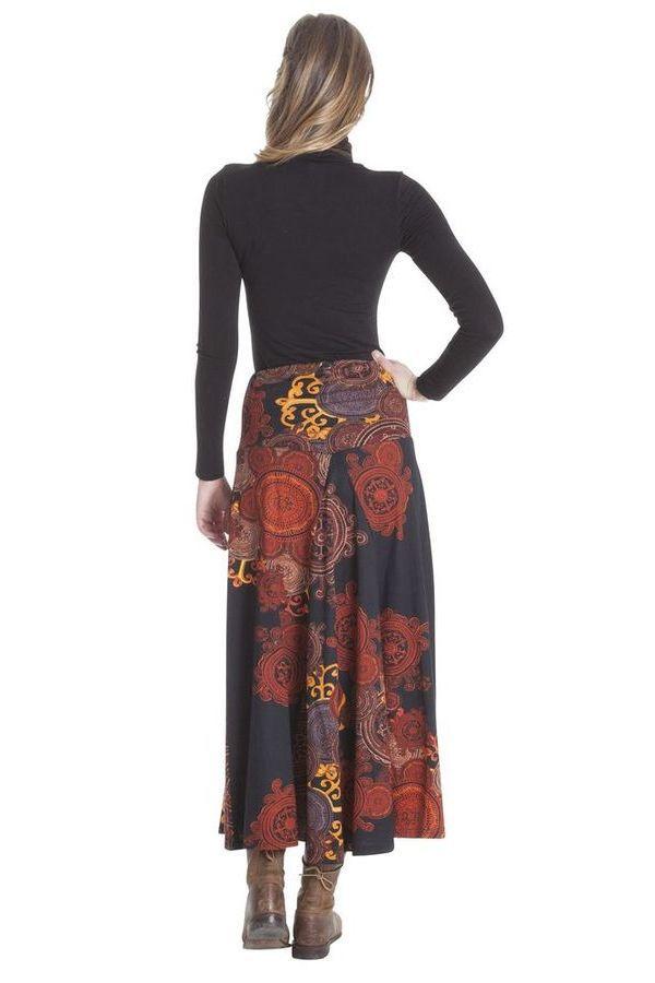 **Jupe longue Kazia Ethnique et Originale Noire et Orange 285522