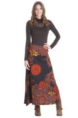 **Jupe Longue Noire et Orange Ethnique et Colorée Barbara 285525