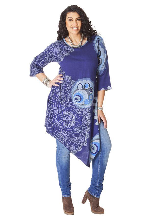 **Robe Grande taille Fantaisie et Asymétrique Bleue Chiara 286231