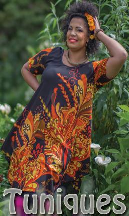 Tunique grande taille originale colore imprime ethnique chic pas cher.