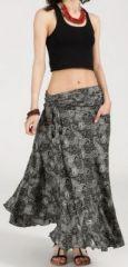 Agréable jupe longue ethnique et originale - Noire/Grise - Baia 272099