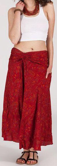 Agréable jupe longue ethnique et originale - Rouge - Baia 272091