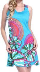Agréable robe courte d'été ethnique et originale Bleue Daniela 273435