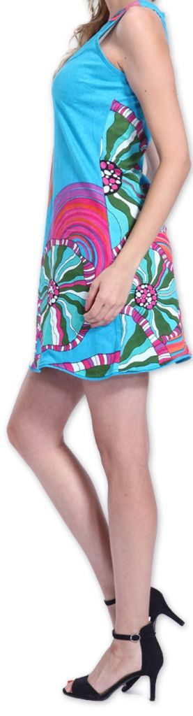 Agréable robe courte d'été ethnique et originale Bleue Daniela 273437