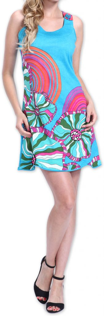 Agréable robe courte d'été ethnique et originale Bleue Daniela 273438