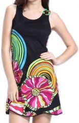 Agréable robe courte d'été ethnique et originale Noire Daniela 273439