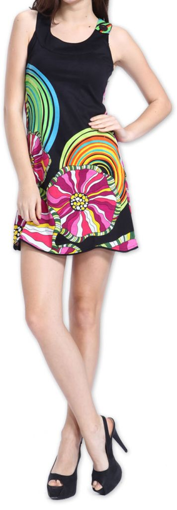 Agréable robe courte d'été ethnique et originale Noire Daniela 273442