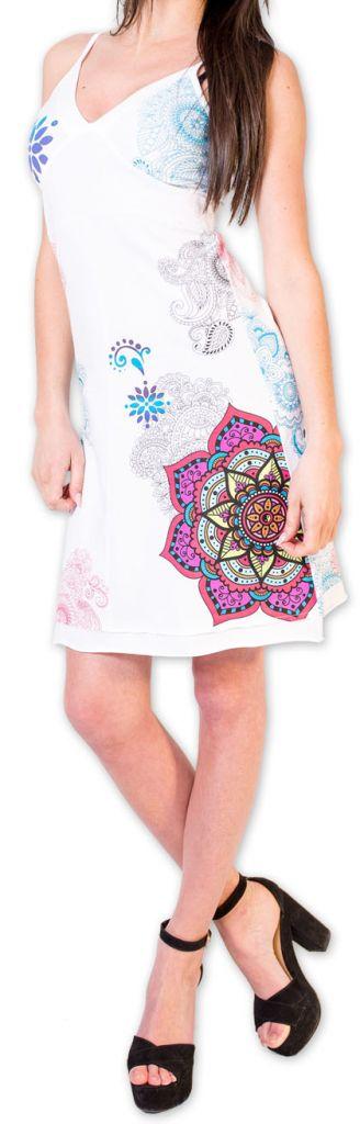 Agréable robe d'été courte et ethnique Blanche Allexia 273231