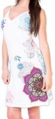 Agréable robe d'été courte et ethnique Blanche Allexia 273232