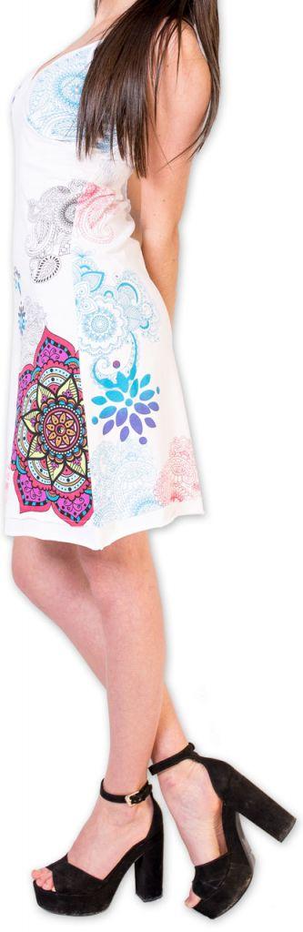 Agréable robe d'été courte et ethnique Blanche Allexia 273233