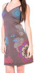 Agréable robe d'été courte et ethnique Grise Allexia 273235