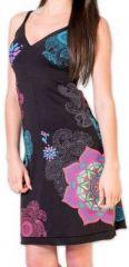 Agréable robe d'été courte et ethnique Noire Allexia 273227