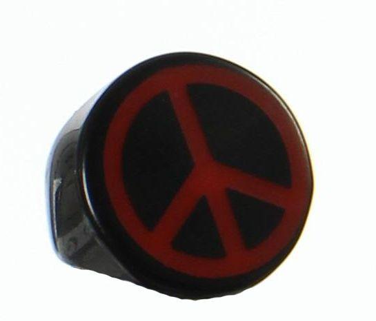Bague en acrylique peace and love rouge 247687