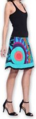 Belle Jupe courte d'été ethnique et colorée Bleue Paty 273609