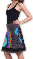 Belle Jupe courte d'été ethnique et colorée Grise Paty 273611
