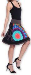 Belle Jupe courte d'été ethnique et colorée Grise Paty 273613