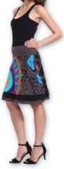 Belle Jupe courte d'été ethnique et colorée Grise Paty 273614