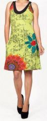 Belle robe courte d'été - sans manches - ethnique et colorée- Anis - Stiva 272079