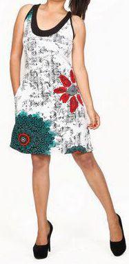 Belle robe courte d'été - sans manches - ethnique et colorée- Blanche - Stiva 272081