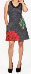 Belle robe courte d'été - sans manches - ethnique et colorée- Noire - Stiva 272077