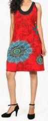 Belle robe courte d'été - sans manches - ethnique et colorée- Rouge - Stiva 272075