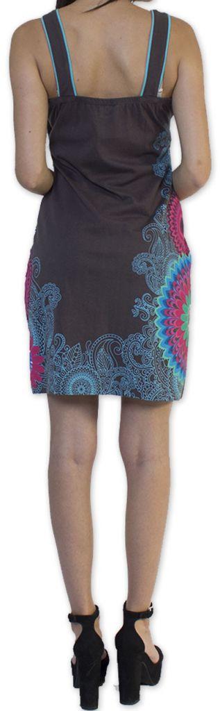 Belle robe d'été courte tendance et ethnique Grise Larae 273540