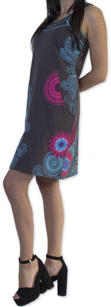 Belle robe d'été courte tendance et ethnique Grise Larae 273541