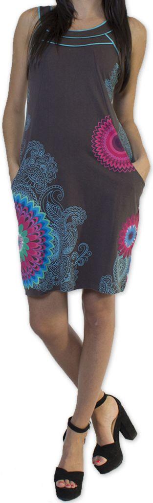 Belle robe d'été courte tendance et ethnique Grise Larae 273542
